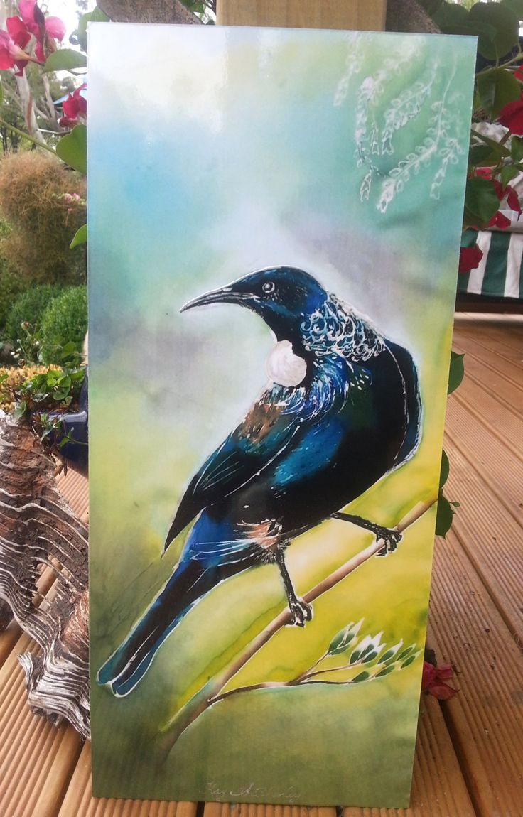 New Zealand TUI Bird, OUTDOOR Wall ART Panel from my original silk painting, Outside art, Garden Art, New Zealand native Tui bird,Large Size by KiwiSilks on Etsy