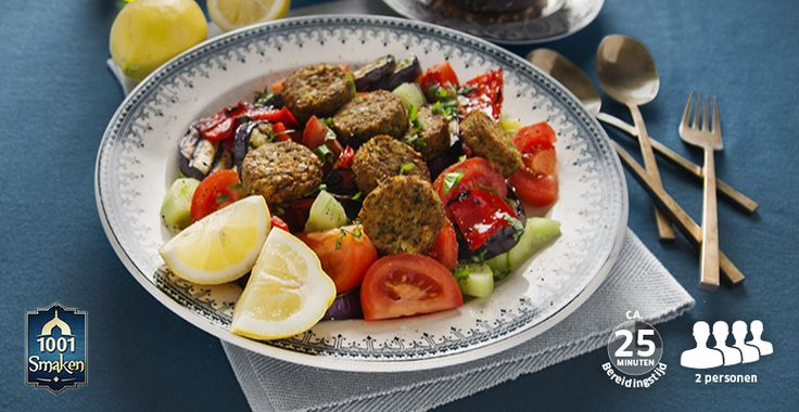 Recept voor Falafel op komkommer-tomaatsalade met gegrilde aubergine en paprika's met yoghurt-knoflooksaus #Lidl