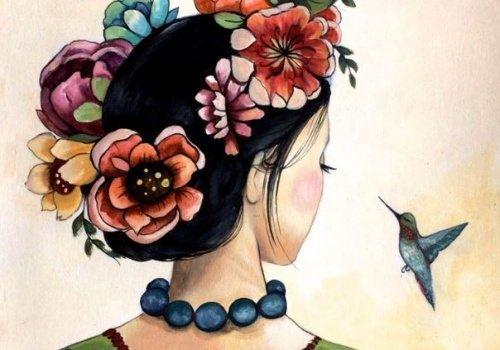 Frau mit Blumen im Haar denkt an ihr Leben