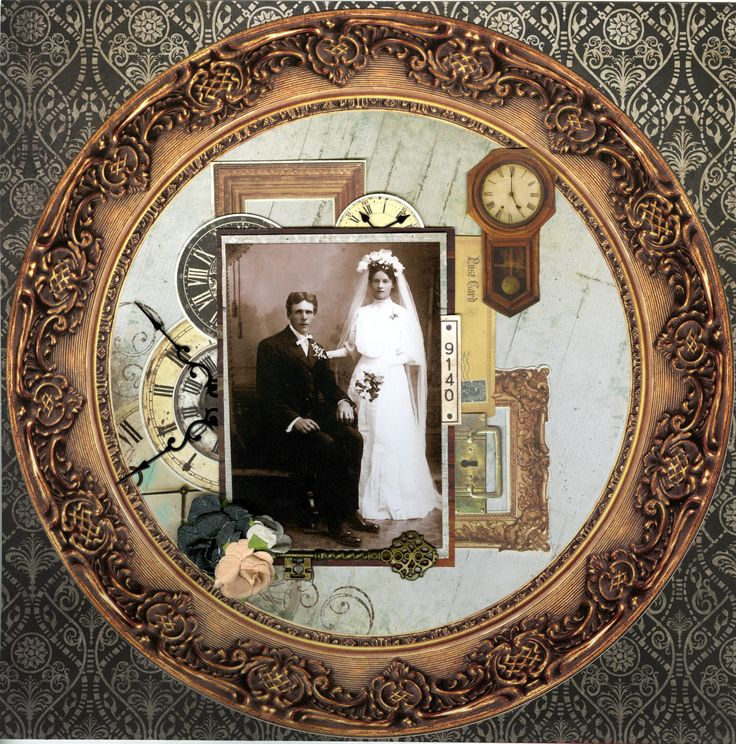 Time ~ Beautifully framed heritage wedding page with vintage clock embellishments.