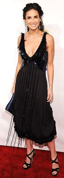 Who made Demi Moore's sandals and black lace dress that she wore to the Samsung Hope for Children benefit in N.Y.C?