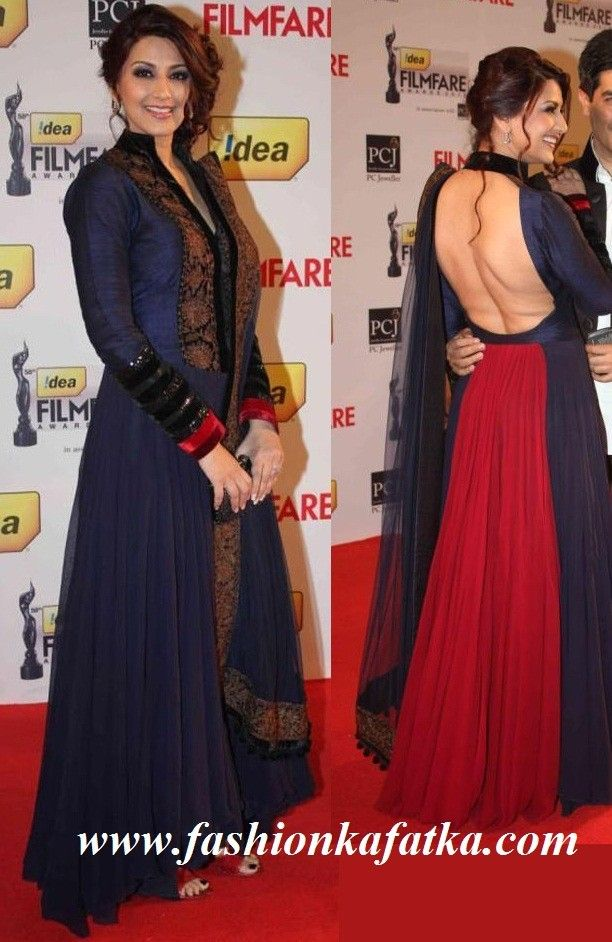 sonali_bendre_-_bollywood-stars-filmfare-awards-in navy blue! the back looks amazing!