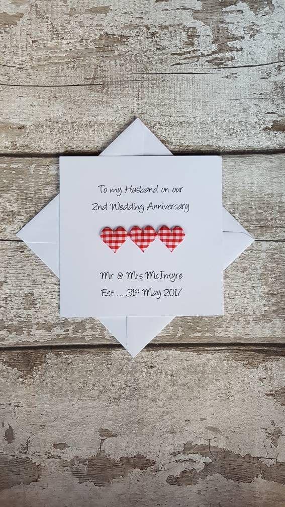 Personalised 2nd Wedding Anniversary Card Handmade Second Etsy 2nd Wedding Anniversary Anniversary Cards For Husband Wedding Anniversary Cards