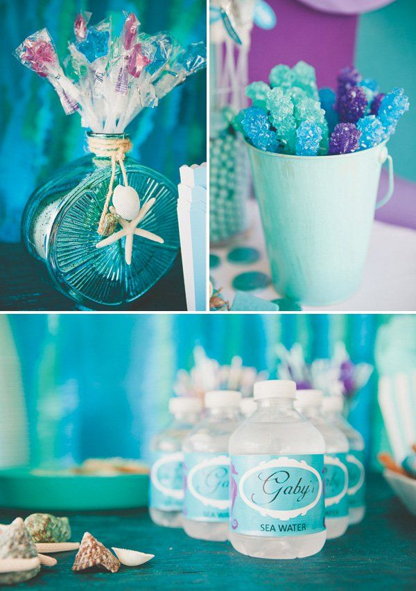 purple and blue under the sea birthday party snacks and desserts