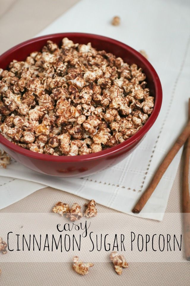Easy Cinnamon Sugar Popcorn - The Freckled Fox