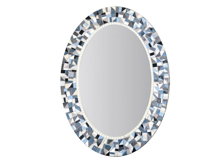 Blue And Gray Mirror / Oval Mosaic Mirror / Bathroom Decor / Mirror For  Bathroom