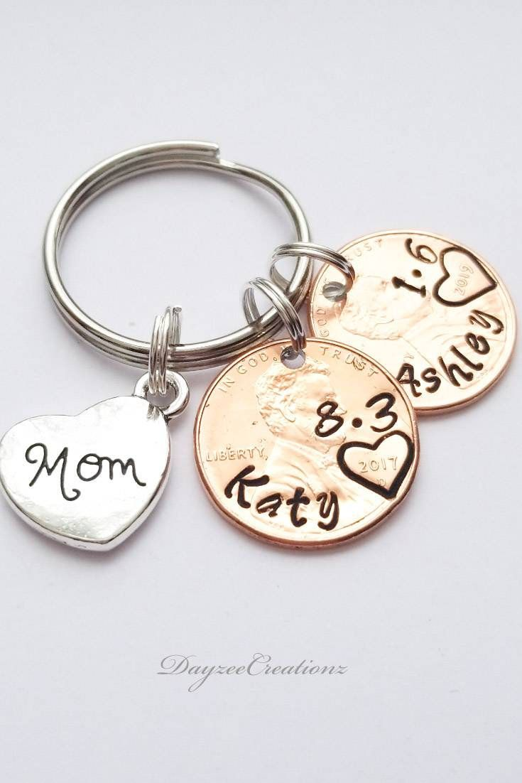 Personalized Mom Lucky Penny Keychain Mother Gift First Mother S Day Christmas From Baby From Daughter From Son Birthday Gift Personalised Gifts Unique Lucky Penny Best Mothers Day Gifts
