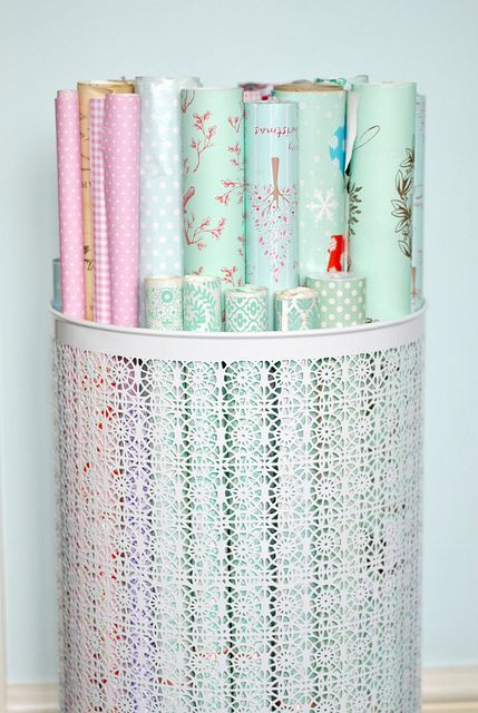 Not sure how to store wrapping paper? Here's a great idea for you!