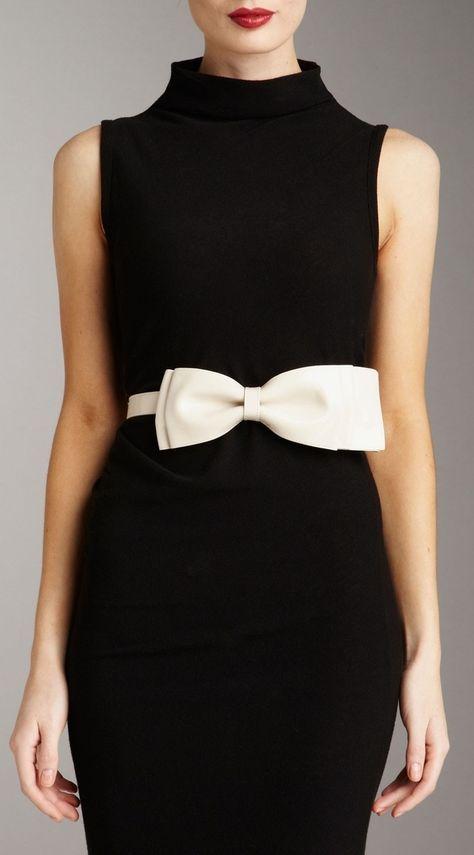 Valentino. Black velvet and white bow belt