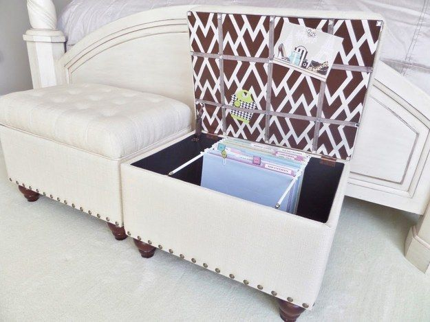 These ottomans that are secretly filing cabinets: | 16 Double-Duty DIYs That Will Make Your Life Prettier And Easier