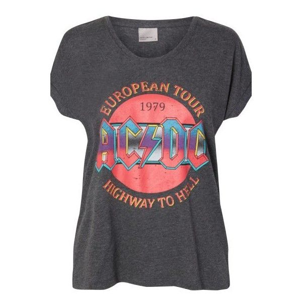Vero Moda AC/DC T-Shirt ($22) ❤ liked on Polyvore featuring tops, t-shirts, dark grey t shirt, cotton t shirts, destruction t shirt, ripped t shirt and distressed print t shirts