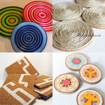 #DIY #Crafts #Coasters #Ribbin #Hemp #Cork #Wood