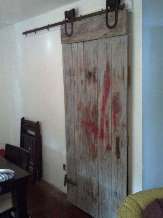 Barn door for pantry