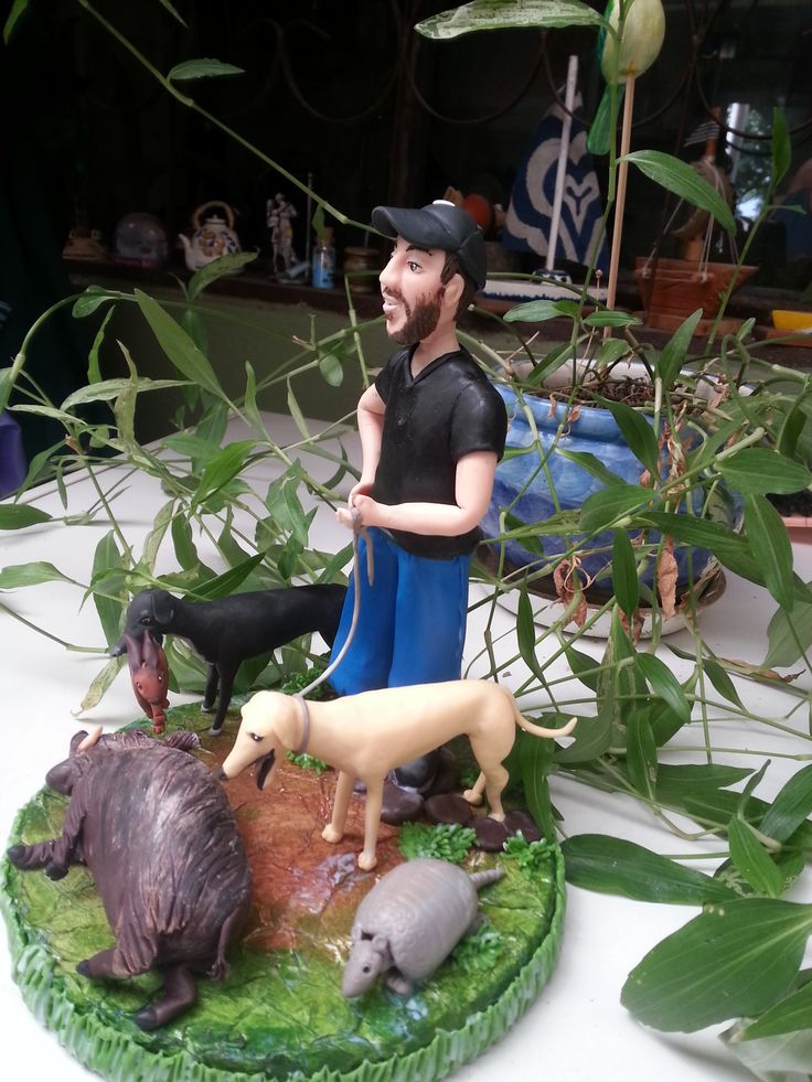 Cazador de jabalí con sus perros-Porcelana fria