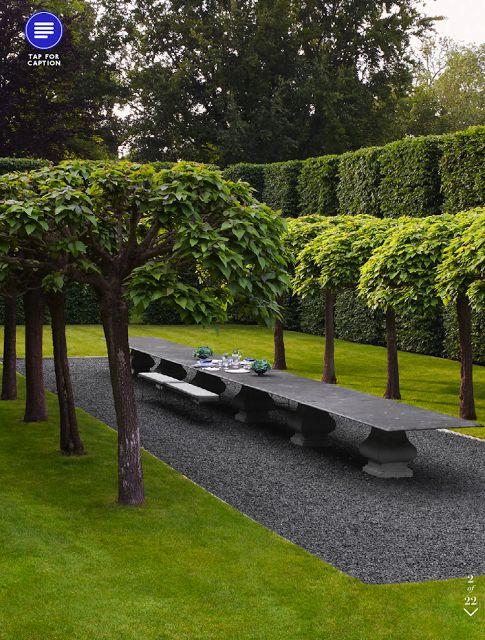 Gravel patio concept- ANOUSKA HEMPEL  Hedges at rear
