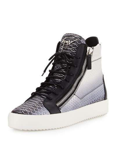 Giuseppe Zanotti Men's Metallic Snake-Print High-Top Sneaker, Gray