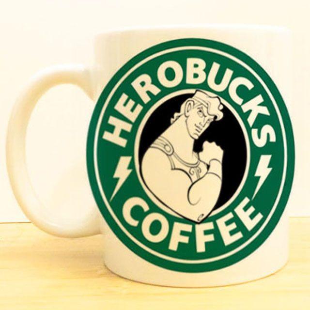 Herobucks Coffee Mug   Hercules Starbucks   Disney Princess