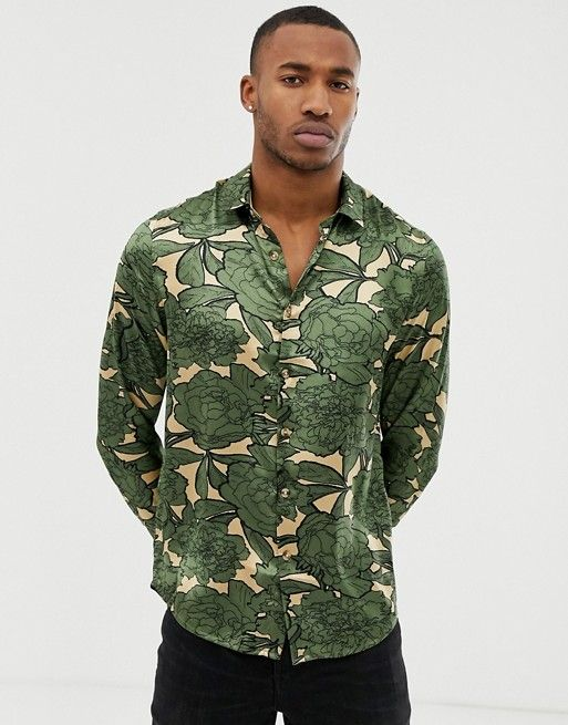 037aa8da DESIGN regular fit satin floral shirt in khaki in 2019 | asos men