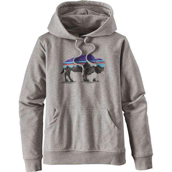 Trek over mountain peaks and stretch out under the stars in the Patagonia Women's Fitz Roy Bison Midweight Pullover Hoodie. Made from a mid-weight organic cot…