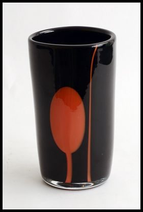 "Gro Bergslien for Hadeland, Norway  1. Unique vase in black and red glass, 1960s. Height 7 1/2"" (19cm) Width 4 1/4"" (11cm)  Engraved ""Hadeland Gro"""