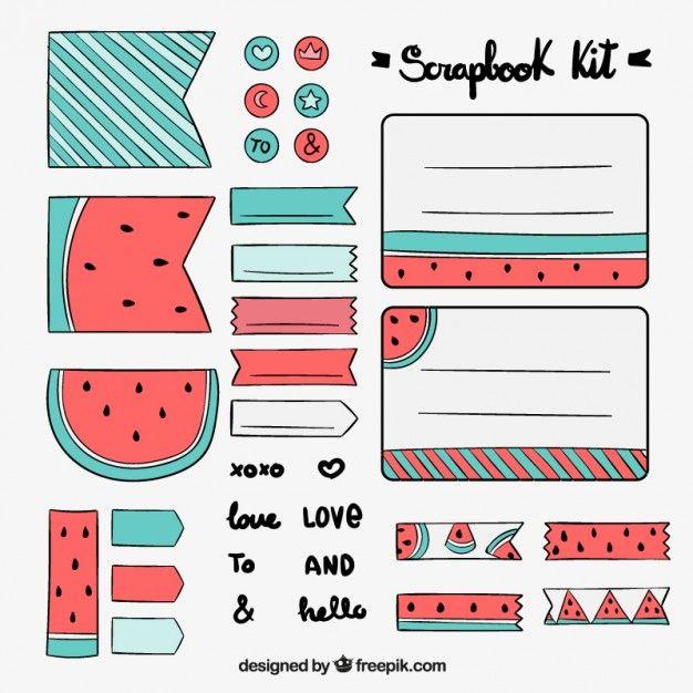 kit recados desenhado à mão com desenhos de melancia Vetor grátis