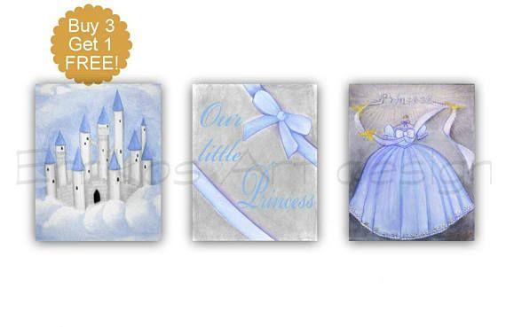 Princess Decor Cinderella Dress Castle Wall Art SET 3