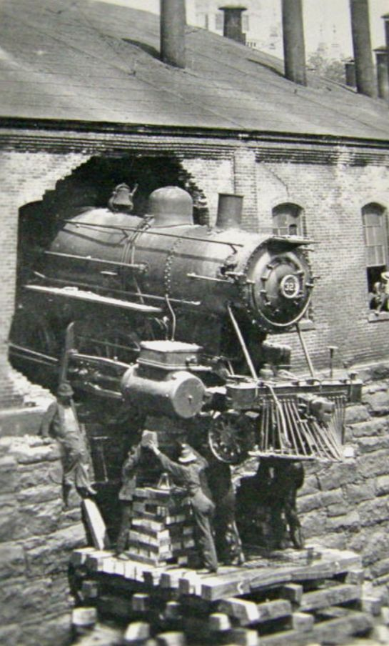 "Train Wreck ... Hartford, Ct.  My dad's first time ""driving"" he drove through the roundhouse walls!"
