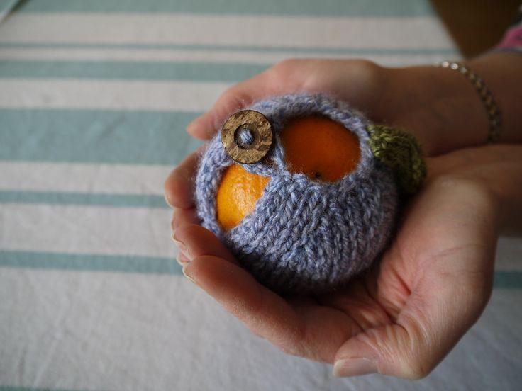 hand knitted apple / orange cozy, £4.50