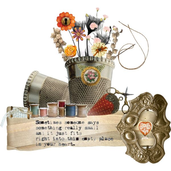 Thimble Bouquet by scribblegoat on Polyvore featuring art and buckles