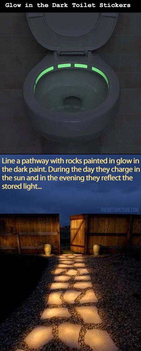 The problem with using the bathroom at night, or walking up to your door in complete when the sun sets is lack of illumination, or at least without having to resort to lights. These glow-in-the-dark ideas would definitely take care of both problems, should a company decide to make these ideas a reality.