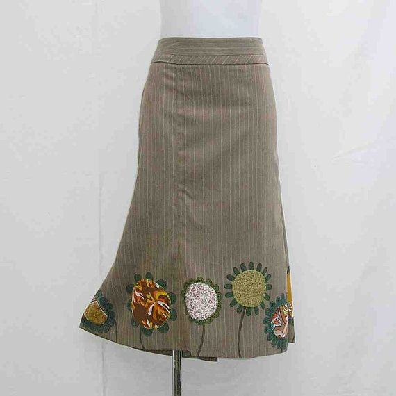Plus size Skirt Hand painted skirt AU 22 uk 20 US by Rethreading
