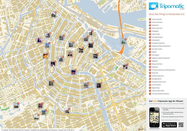 Map of Amsterdam attractions | Tripomatic.com