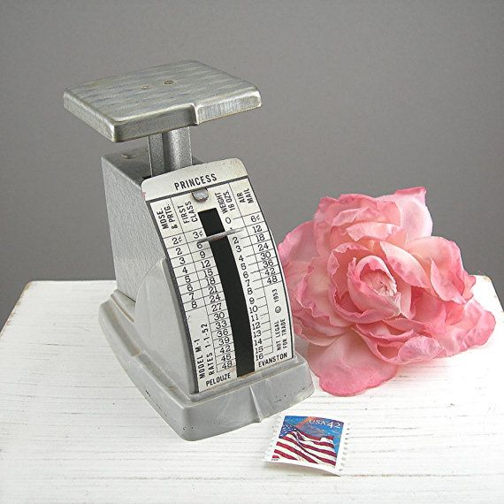 1953 Postal Scale Small Vintage Pelouze Evanstan Princess Model Gray Metal and Plastic Old Postage Prices Vintage Office Collectible