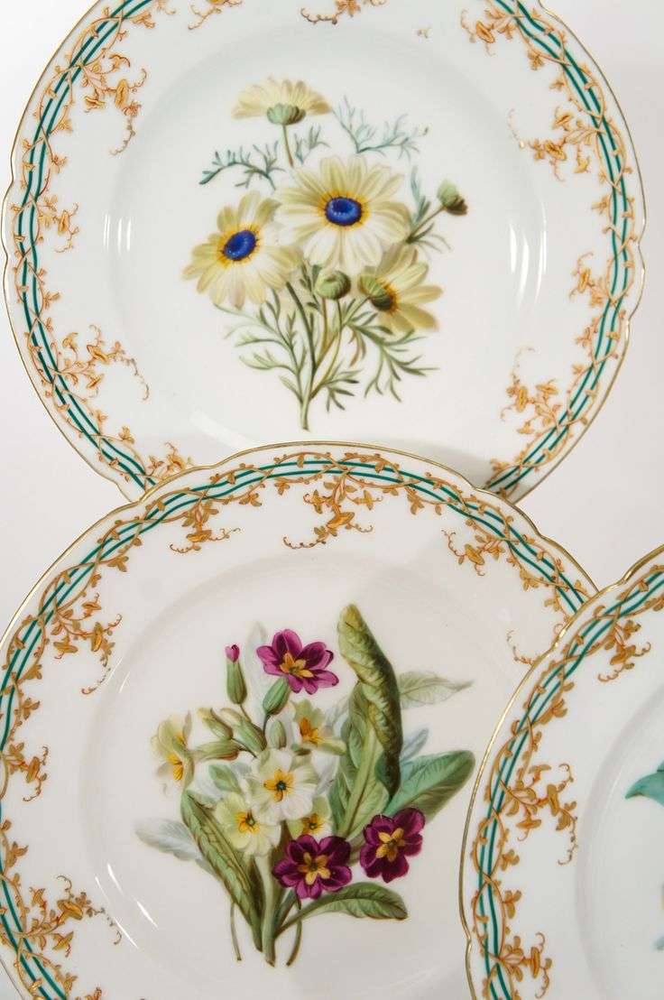 19th c. Old Paris Hand Painted 18 Piece Botanical Dessert Service | From a unique collection of antique and modern porcelain at http://www.1stdibs.com/furniture/dining-entertaining/porcelain/