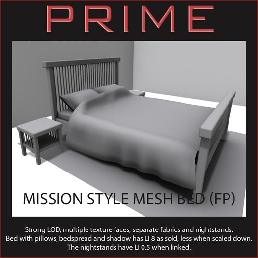 Mission bed w Fabrics and nightstand (FP) - by PRIME