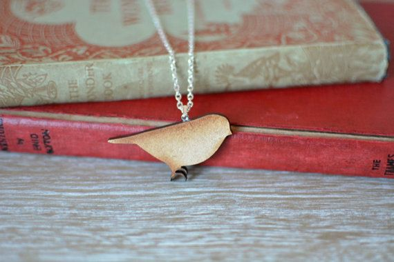Wooden Sparrow Necklace. A delightful handmade sparrow necklace, with silver plated chain and findings.   https://www.etsy.com/uk/listing/220559960/wooden-sparrow-necklace-natural-laser?ref=shop_home_active_6