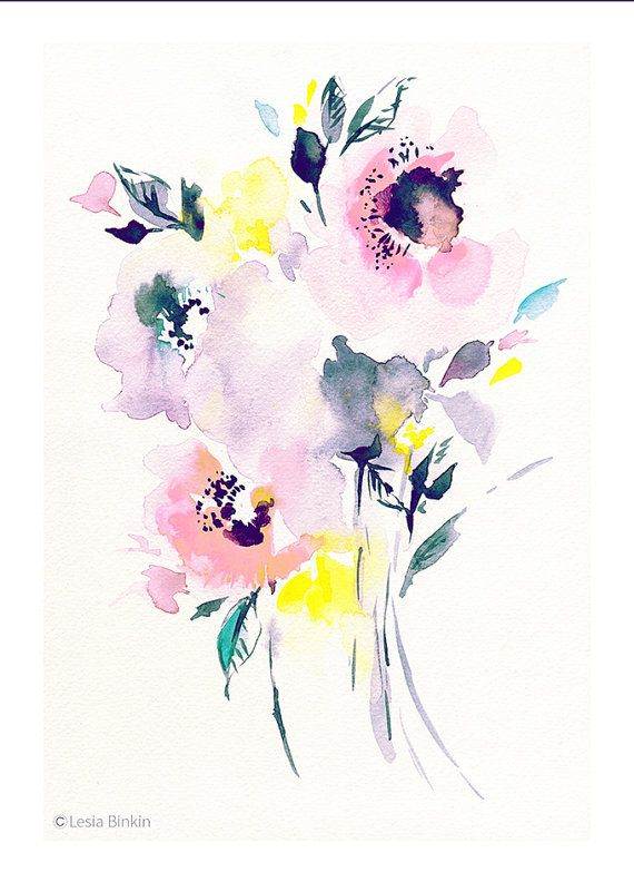 Pink flower, watercolor art, floral painting, abstract flowers, flower wall decor, modern art, delicate colors painting