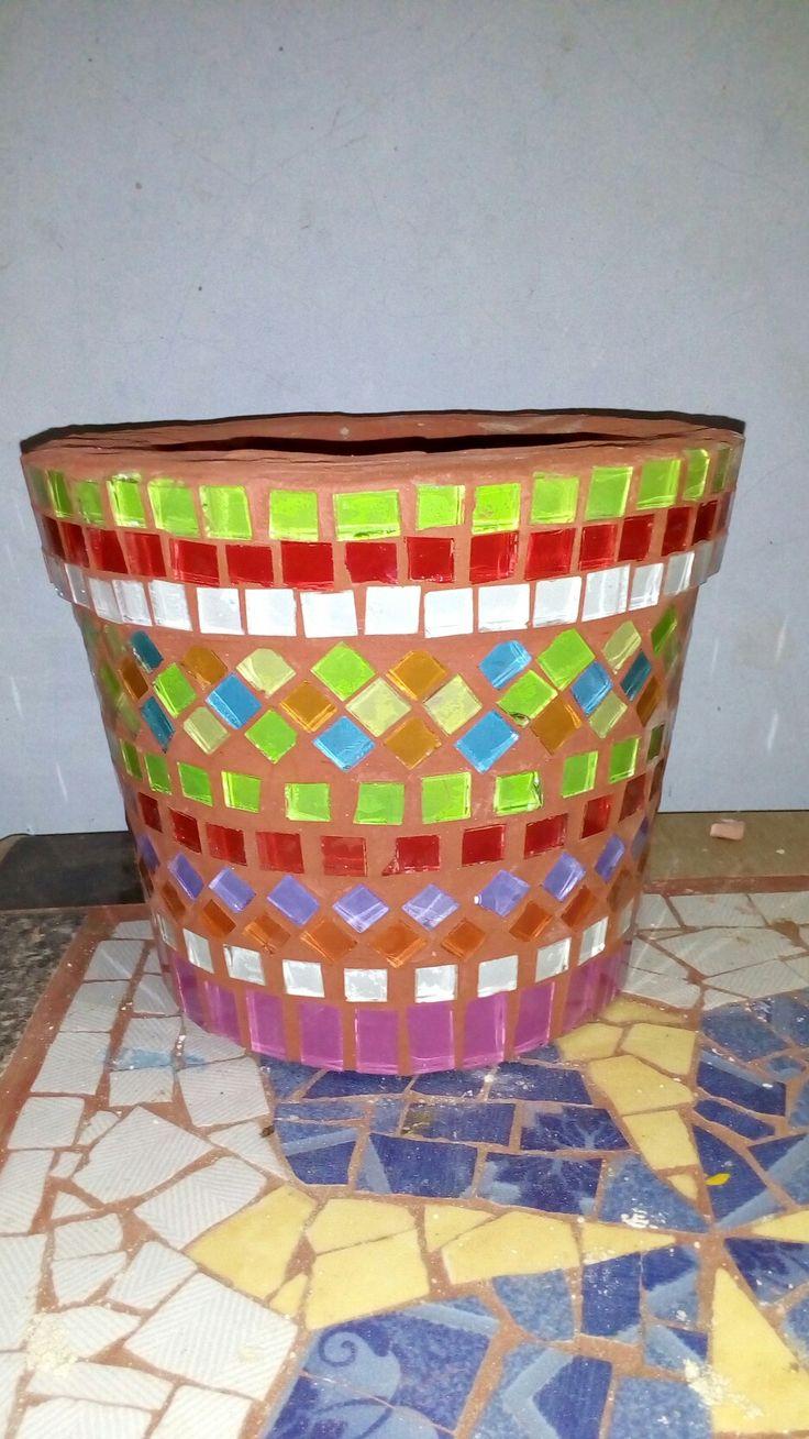 glass mosaic pot
