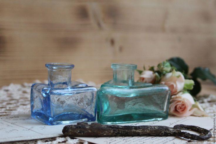 Купить РЕДКОСТЬ!!!Антикварные чернильницы (Германия) №55 - голубой, антик, антиквариат, антикварное стекло, чернила, чернильница