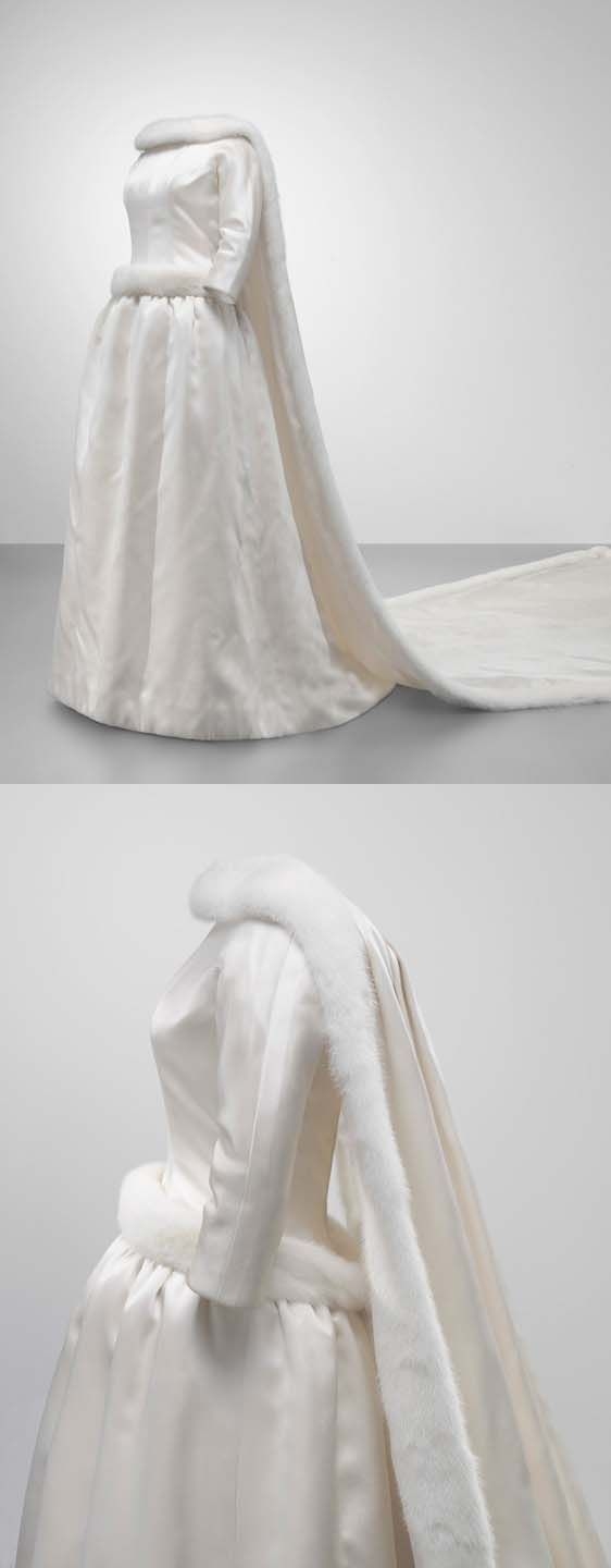 Cristóbal Balenciaga wedding dress in ivory satin and white mink,  1960. The Queen donated her wedding dress to the Cristóbal Balenciaga Foundation.