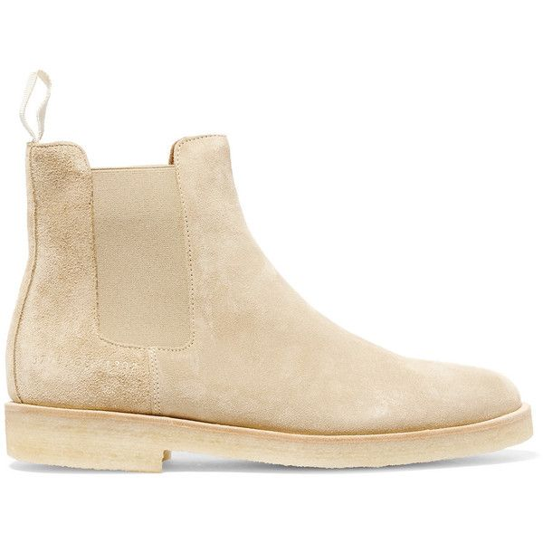 Common Projects Suede Chelsea boots (1 690 PLN) ❤ liked on Polyvore featuring shoes, boots, ankle booties, beatle boots, cream suede boots, chelsea bootie, suede leather boots and chelsea boots