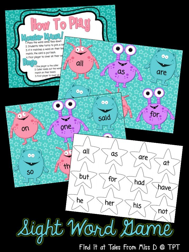 Monster Mania - A Sight Word Game This game can be played in two ways; race to cover and bingo. Included are 7 game boards and word cards. Words covered: all, as, are, at, but, for, had, have, he, her, his, not, on, one, said, so, they, we