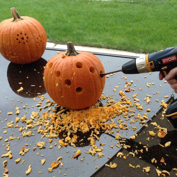 DIY Pumpkin Carving With A Drill | The Garden Glove
