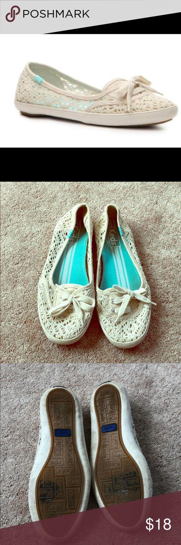 Keds Teacup Crochet Slip-on Flat Keds Teacup Crochet Slip-on Flat. Shoe string tie in front. Lightly worn. Keds Shoes Flats & Loafers #sliponshoes