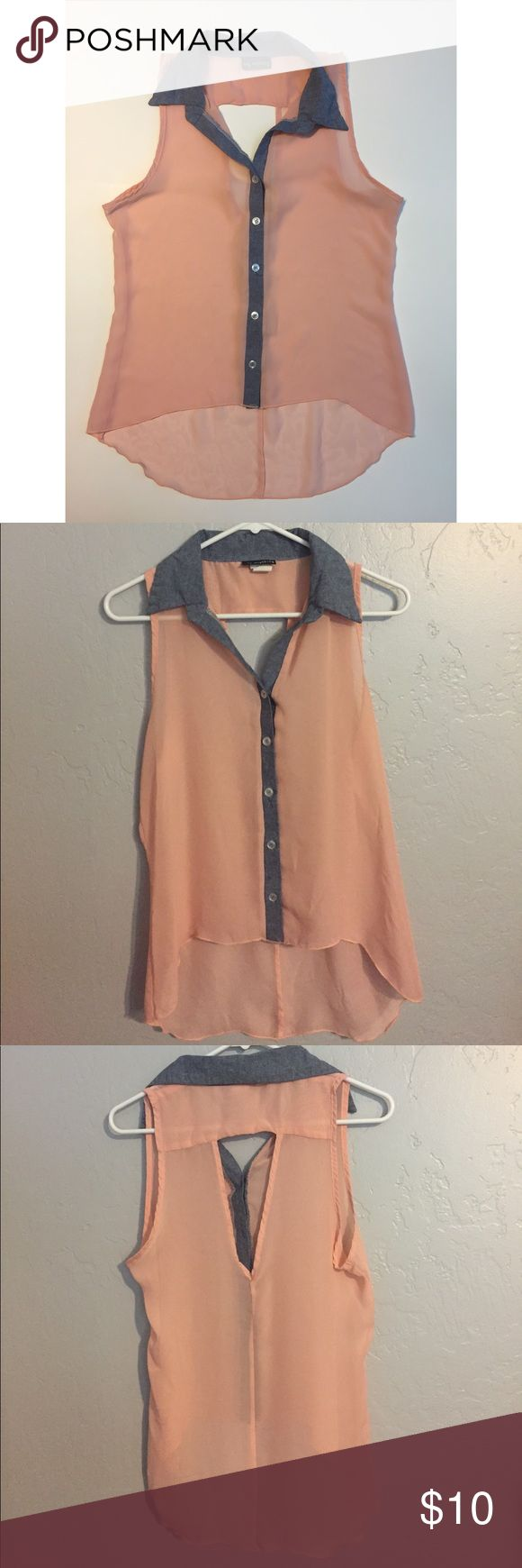 Sleeveless Top Sheer high-low top. Peachy color with denim collar and trim. Cut out in back. Perfect with a camisole or bandeau underneath! Only worn once! Size large. Tops Tank Tops