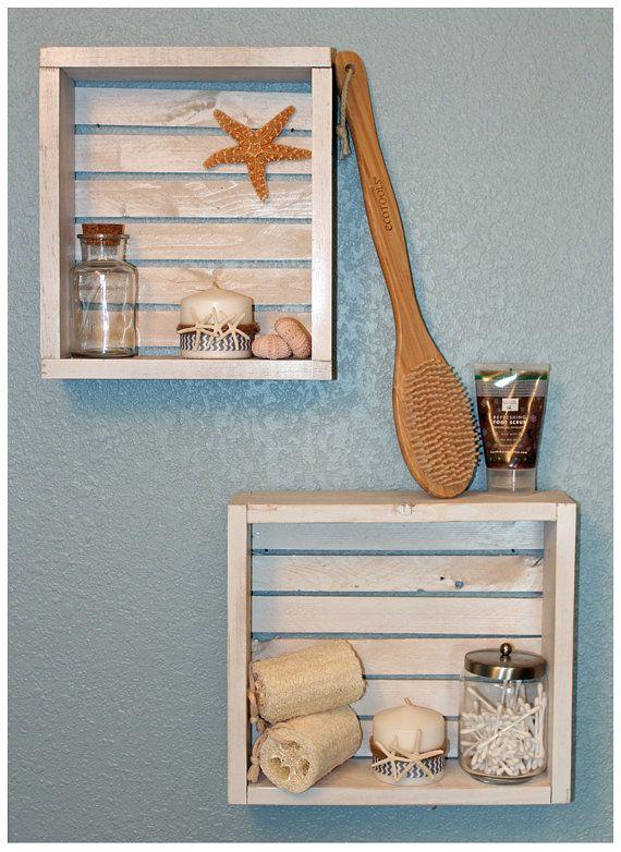 Wall Shelf Bathroom Shelf Beach Crate Shelf Beach by BrandNewToMe