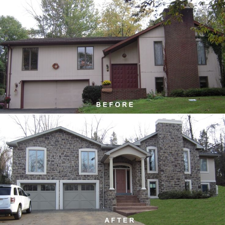 bi-level exterior remodeling | Bi-level exterior make-over, remodeling, addition, Dryvit, man-made ...
