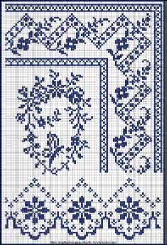 Cross-stitch Borders.... no color chart, just use pattern chart colors as your guide.. or choose your own colors...