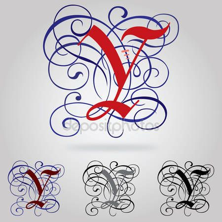Stáhnout - Süslü büyük Gotik yazı - harf y — Stocková ilustrace #54076479