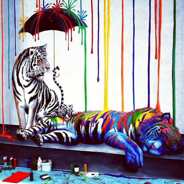 Carlsbad mural streetart tigers mural paint colors for Custom mural painting
